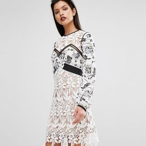 Self-Portrait Swallow Floral Lace Mini Dress